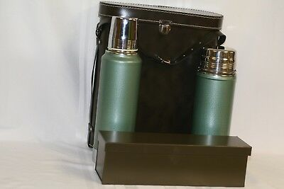 Vintage Aladdin Stanley Steel Double Thermos Lunch Box Picnic Set & Leather Case