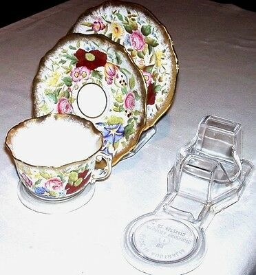 5  Cup Saucer And Plate Display Stands - Clear - Australian Made
