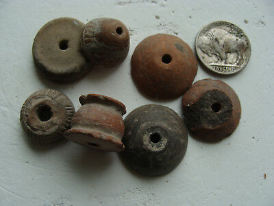 Lot of 7 Ancient Aztec PreColumbian Ceramic Spindle Whorl Beads 1200-1500 AD Mex