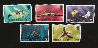 PITCAIRN ISLANDS - scott 151-155   VFMNH,   moth, Dragonfly, insects  1975