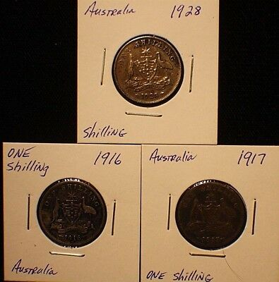 THREE (3)  Australia Shillings Sterling .925 Silver Coins 1916  1917  1928