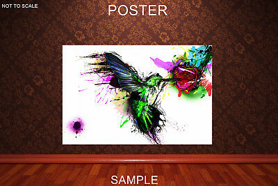 hemming bird WATERCOLOR POSTER or FRAMED A2,A1,61x91cm(24x36inch)