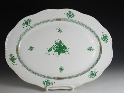 "Herend Chinese Bouquet Green 14 1/2"" Oval Platter"