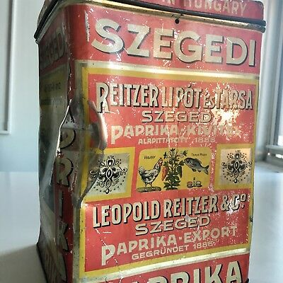 Antique Szgrdi Paprika Spice Tin Litho Lrg Can Hungary Vintage Country Store Old
