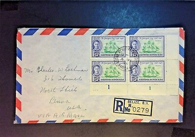 British Hoduras 1949 Registered Airmail Cover to USA - Z914