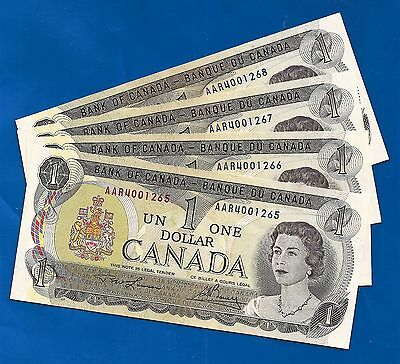 FOUR 1973 CANADA consecutive 1 ONE DOLLAR BILLS NOTES prefix AAR CRISP UNC