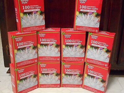 100 Clear Mini Lights Lot Of 10 White Wire Christmas Wedding Strings New