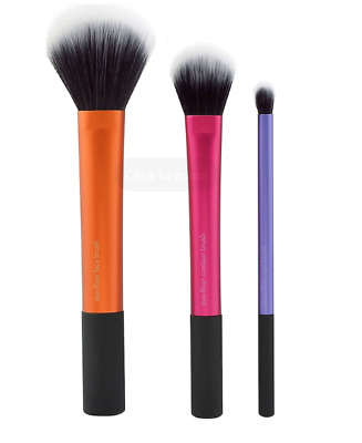 Duo-Fiber Collection 3 Brush Set Makeup Brushes Tools Cosmetics Eye Contour Face