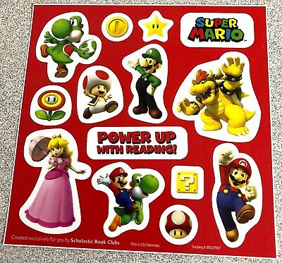 Small Sheet 14 SUPER MARIO STICKERS Luigi Princess Peach Yoshi Bowser Logo Toad