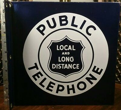 Vintage Not Bell Local PUBLIC TELEPHONE 11x11 Double Side Flange Sign Porcelain
