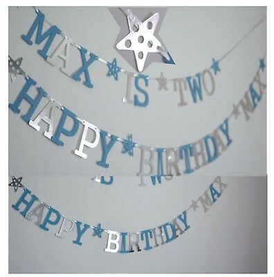 Personalised BOYS 1st BIRTHDAY BANNER BLUE CAKE SMASH Party Decorations BUNTING