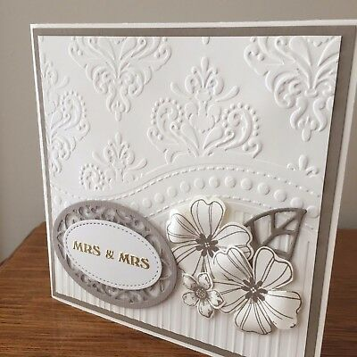 Same Sex Wedding Card - Mrs & Mrs cream & taupe, embossed  with flowers