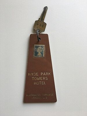 (2) Vintage Mid Century Hotel / Motel Room Key Ring Fob HYDE PARK LONDON STAMPED