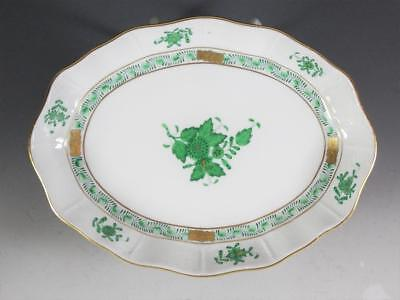 "Herend Chinese Bouquet Green 7 3/4"" Oval Bowl"