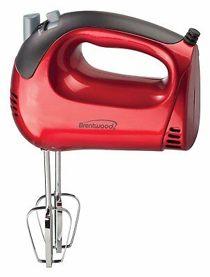 Kitchen Hand Mixer, Brentwood Red 5-speed Small Whisk Beater Hand Mixer Portable