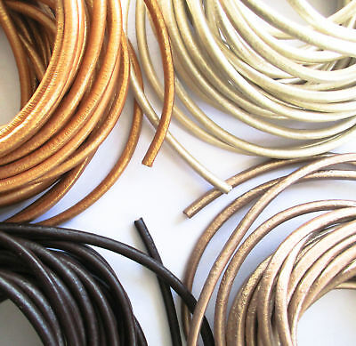 Genuine 3mm Round Pearl Coloured Leather Jewellery Cord