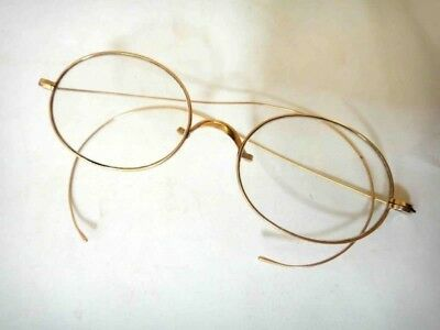 "antique WIRE EYE GLASSES signed GUDZ GOLD steam punk 6"" arms"