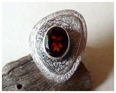925 Sterling Silver HESSONITE GARNET Semi Precious GEMSTONE RING SZ N1/2 - US 7
