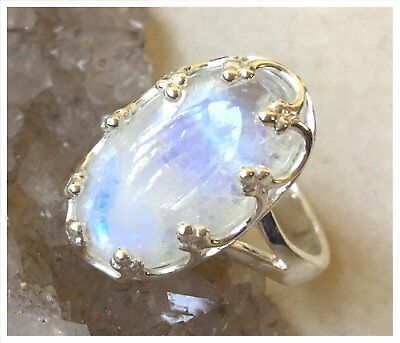 925 Sterling Silver RAINBOW MOONSTONE Semi Precious GEMSTONE RING SIZE P