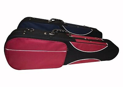 Ferris 4/4 Shaped Violin Case with Lock Back Straps & Pockets Red & Blue SALE