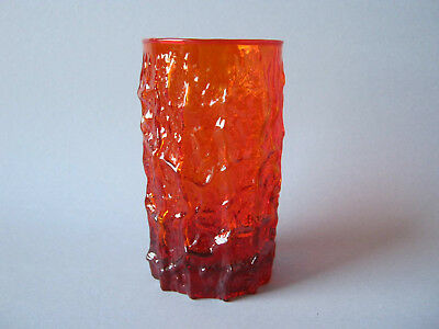 Glas Vase Becher orange rot 13 cm Whitefriars Rinde Borke Relief Glass Design
