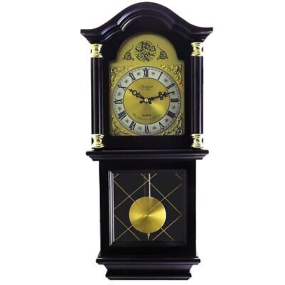 "Bedford Clock 26"" Antique Mahogany Cherry Oak Grandfather Chiming Wall Clock"