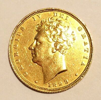 Rare 1829 George IV Genuine Gold Sovereign Coin, very clear condition.