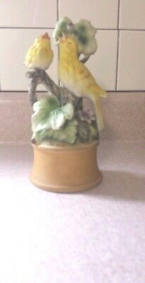 Vintage Shafford Porcelain Bisque Canary Mother & Baby Bird Figurine Music Box