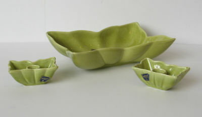 CAMARK Pottery Table Set Console Bowl 410 with 2 Candle Holders 416 Green