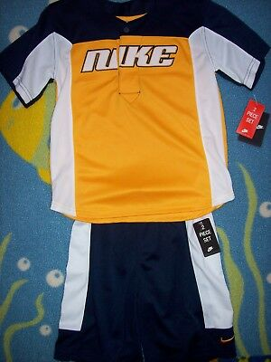 Nike Short Set Outfit Boys 2pc Set Sports Team Athletic Obsidian Maize White New