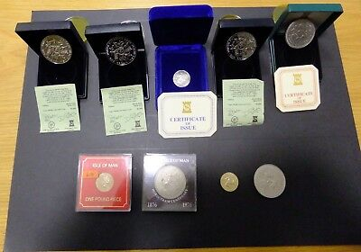 Set of Isle of Man Commemorative £ One Pound and Crown Coins incuding Silver