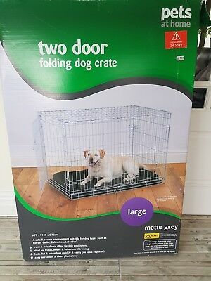 Dog Puppy Metal Crate Pet Folding Training Cage Travel Large Two Doors Boxed!