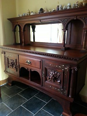 Hand Carved Sideboard With Bevelled Mirror Antique 19th Centur  James Shoolbred