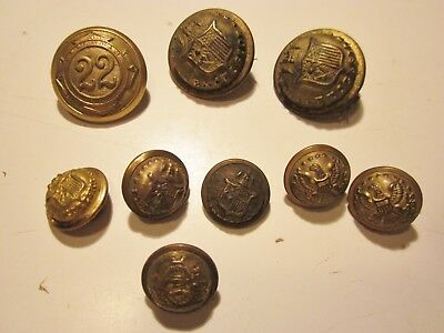 Lot of (9) 1865 - 1898 Military Buttons NY & Unknown - Indian Wars Span Am