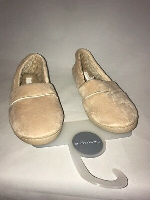 3826fcdccf31 CHARTER CLUB MICROVELOUR Closed Memory Foam Slippers Taupe New ...