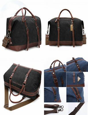 eb8d43480e9 BAOSHA Canvas PU Leather Travel Tote Duffel Bag Carry on Weekender Overnight