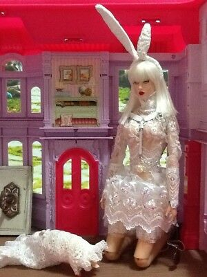 Ooak White Rabbit Outfit Custom Made: Sybarite Superdoll Superfrock Ficon