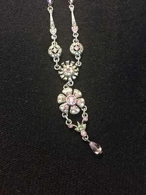Vintage Signed Graziano Art Deco Necklace with Rosettes, Hearts & Pink Stones