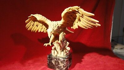 Beautiful Vintage Ceramic Spread Wing Swooping American Eagle On Marble Base