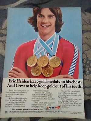 Vintage Magazine Print Ad CREST Toothpaste Eric Heiden W/5 Gold Medals Olympics
