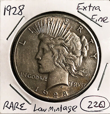 1928 $1 Peace Silver Dollar XF Rare Low Mintage No Minimum
