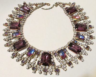 Exquisite Watermelon Purple Rhinestone Statement Collar Bib Necklace - Signed