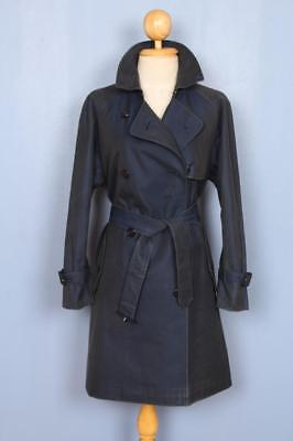 Womens BURBERRY Double Breasted Short TRENCH Coat Mac Navy 14/16 Lrg