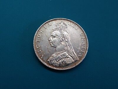 1887 Great Britain - Silver Double Florin - Roman 1 in Date- Queen Victoria.AU