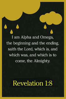 REVELATION 1:8 BIBLE Verse Poster 18-Inches By 12-Inches