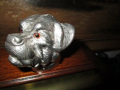 Art Deco English Bull Dog Sculpture Silver-Brass Glass Eyes sgnd Mika Valentino