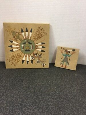 2 vintage Navajo Sand Art Painting picture decor Signed & Described New Mexico