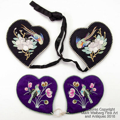 Two Pair of Chinese Silk Embroidered Heart Shaped Ear Warmers Early 20th Century