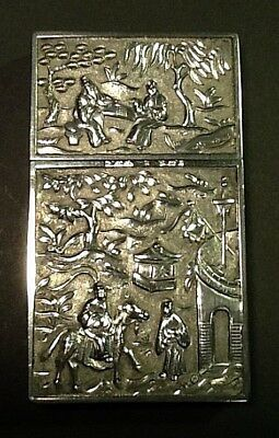 Antique KHE CHEONG Chinese Export Silver Card Case
