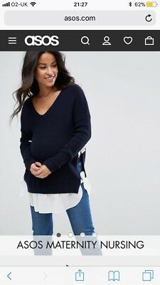 asos maternity nursing jumper with bow side detail, navy blue, size 16
